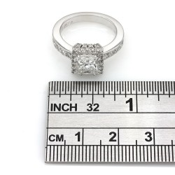 18kw Single Row Halo Engagement Ring Princess Center