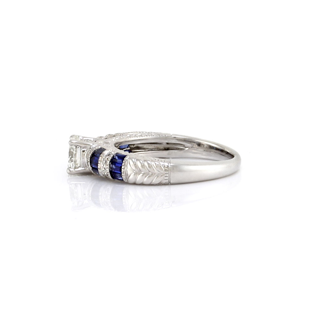 Diamond Solitaire and Alternating Diamond and Sapphire Ring