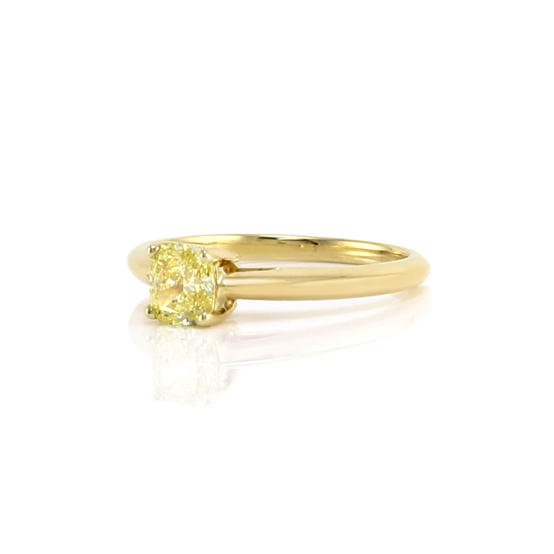 Tiffany & Co. Fancy Intense Yellow Cushion Diamond Solitaire Engagement Ring in Gold