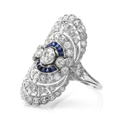 Edwardian European Diamond and Calibre Blue Sapphire Ring in 900 Platinum