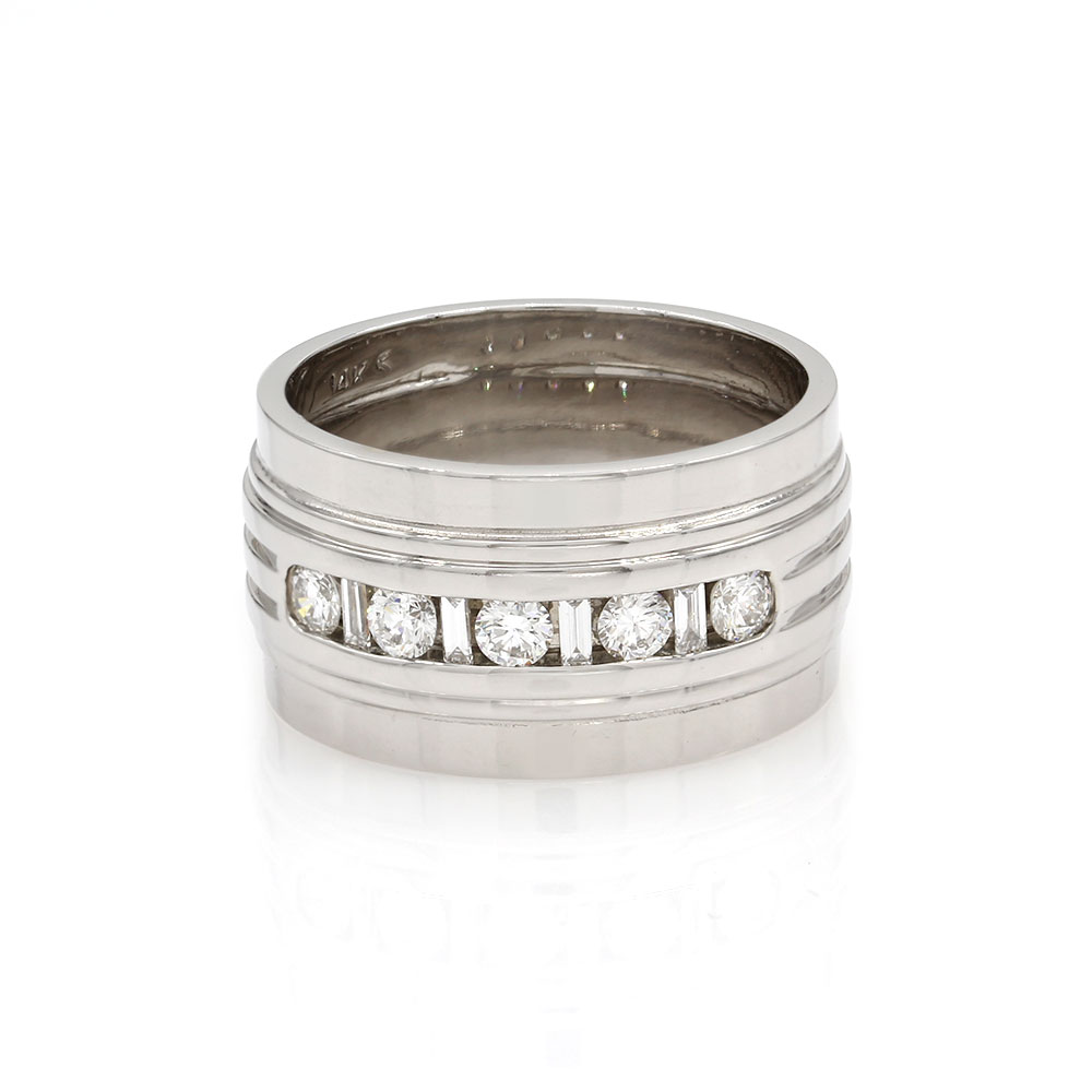 Diamond Cigar Band Ring in Gold