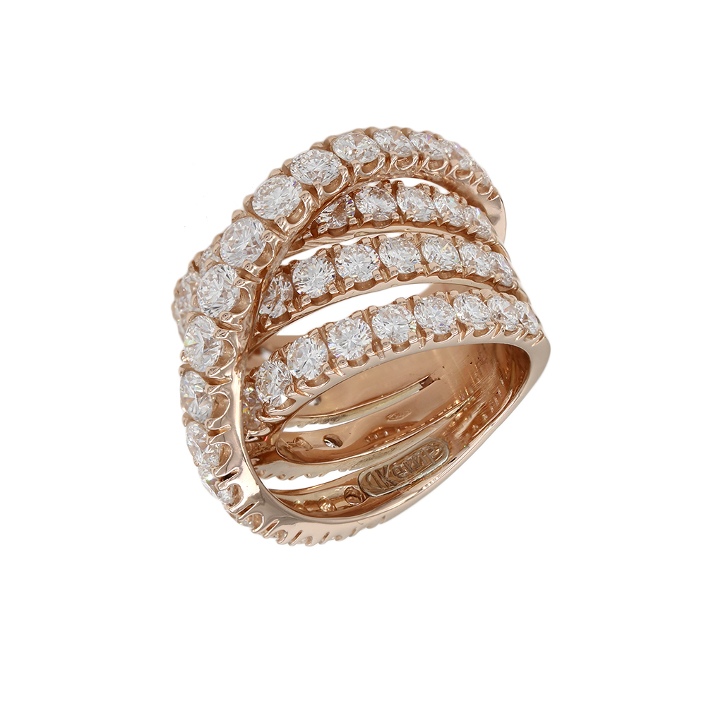 Diamond Crossover Ring in Gold
