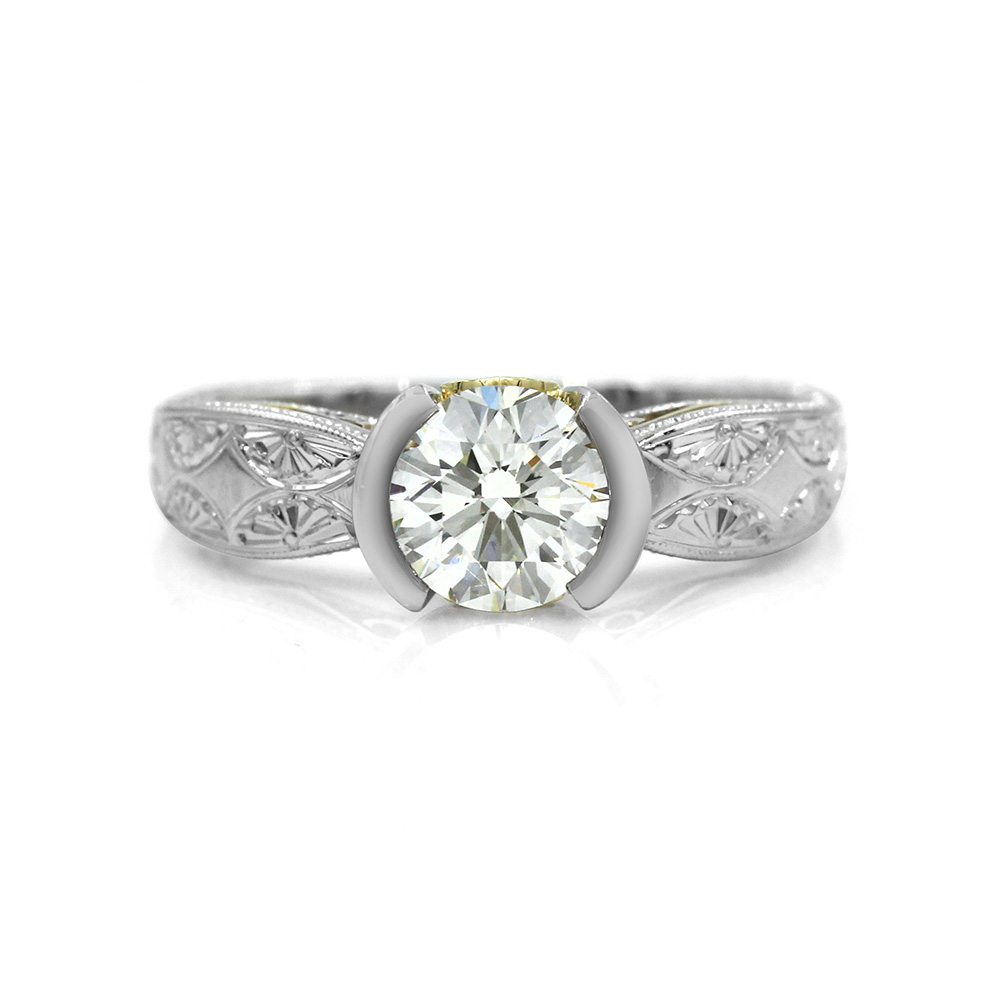 Diamond Solitaire Ring in Platinum and Gold