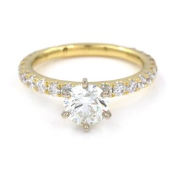 18KY Prong Set Diamond Engagement Ring with Round Center