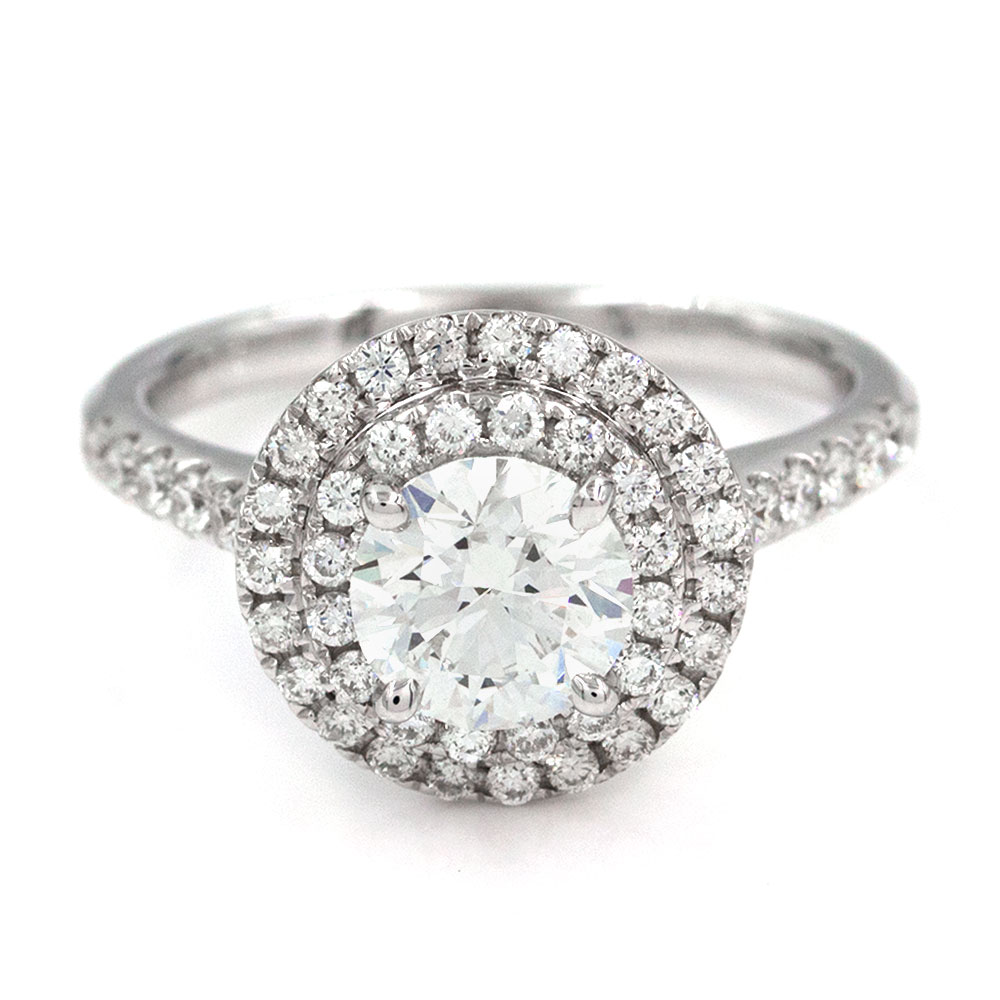 18KW Diamond Double Halo Engagement Ring with Round Center