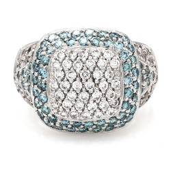 Blue and White Diamond Ring in Gold