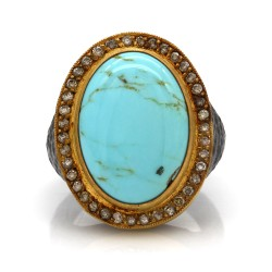 Lika Behar Turquoise and Diamond Ring in Silver and Gold