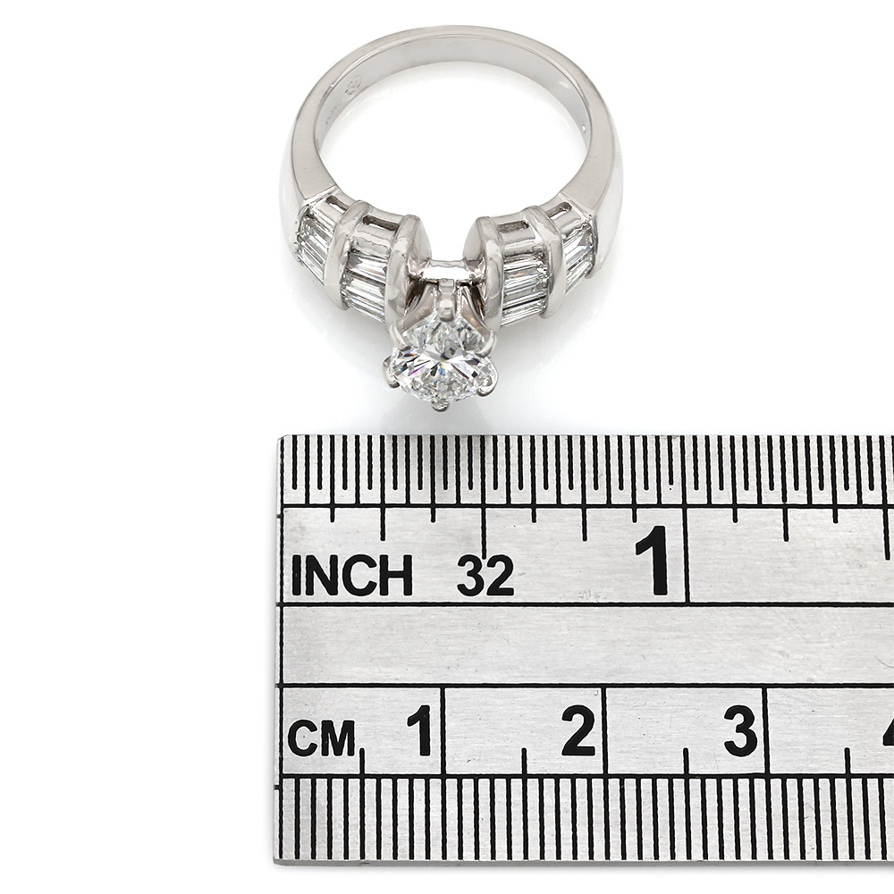 Channel Set Baguette Diamond Engagement Ring with 1.52ct Pear Center in Platinum