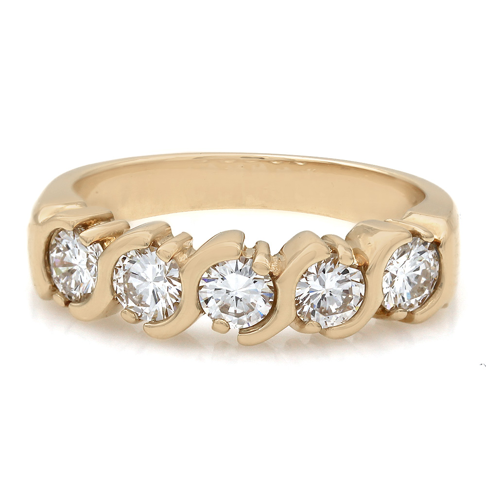 1.00ctw Five Stone Diamond Band with Round Diamonds in 14k Yellow Gold