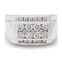 Four Row Channel Set Round Diamond Gents Ring in 14k White Gold