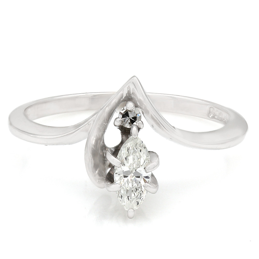 Two Stone Round and Marquise Diamond Chevron Shaped Ring in 14k White Gold
