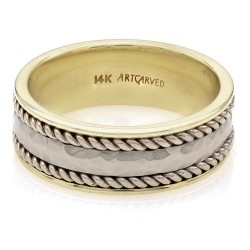 Gentlemans Gold and Silver Hammered Rope Edge Ring