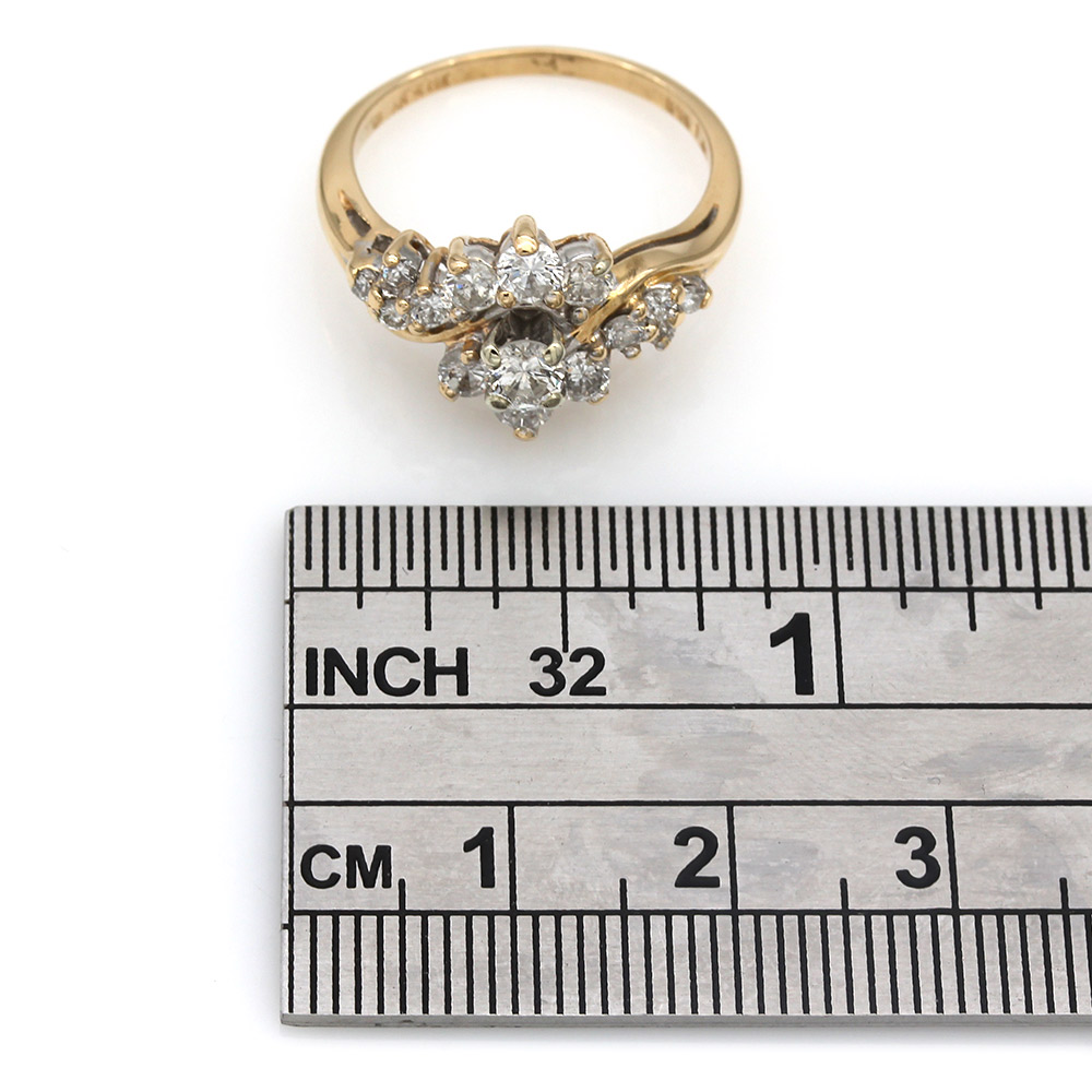 Diamond Bypass Cluster Ring in Gold