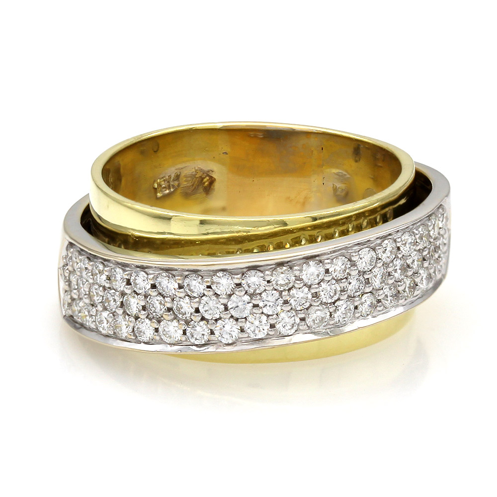 Two Tone Band in Band Diamond Pave Ring