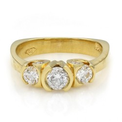 3 Stone Diamond Ring with Diamond Accent in Gold