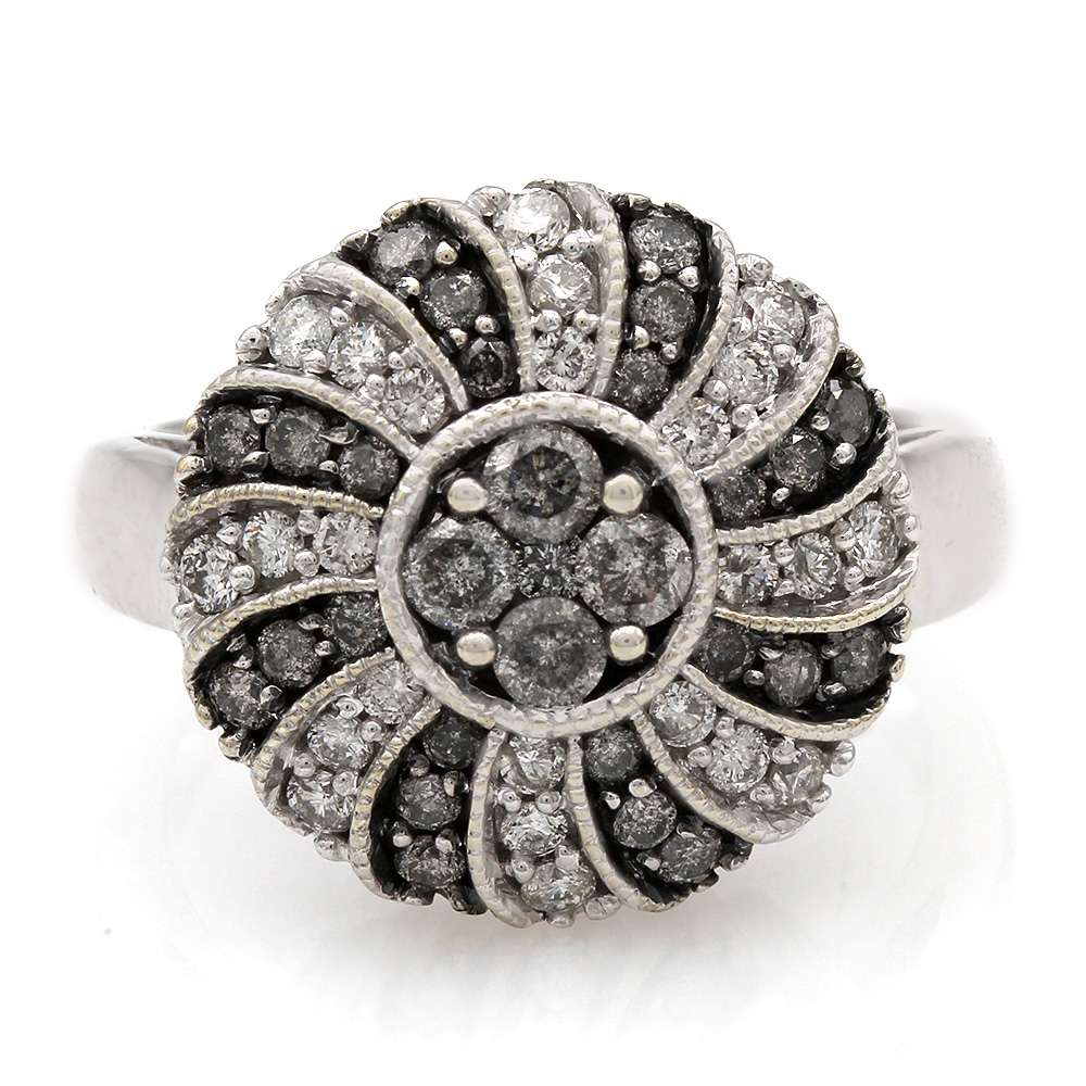 White and Grey Diamond Swirl Fashion Ring in 14k White Gold