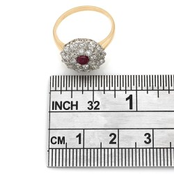 Diamond and Ruby Cluster Fashion Ring in 14k Two-Tone White and Yellow Gold