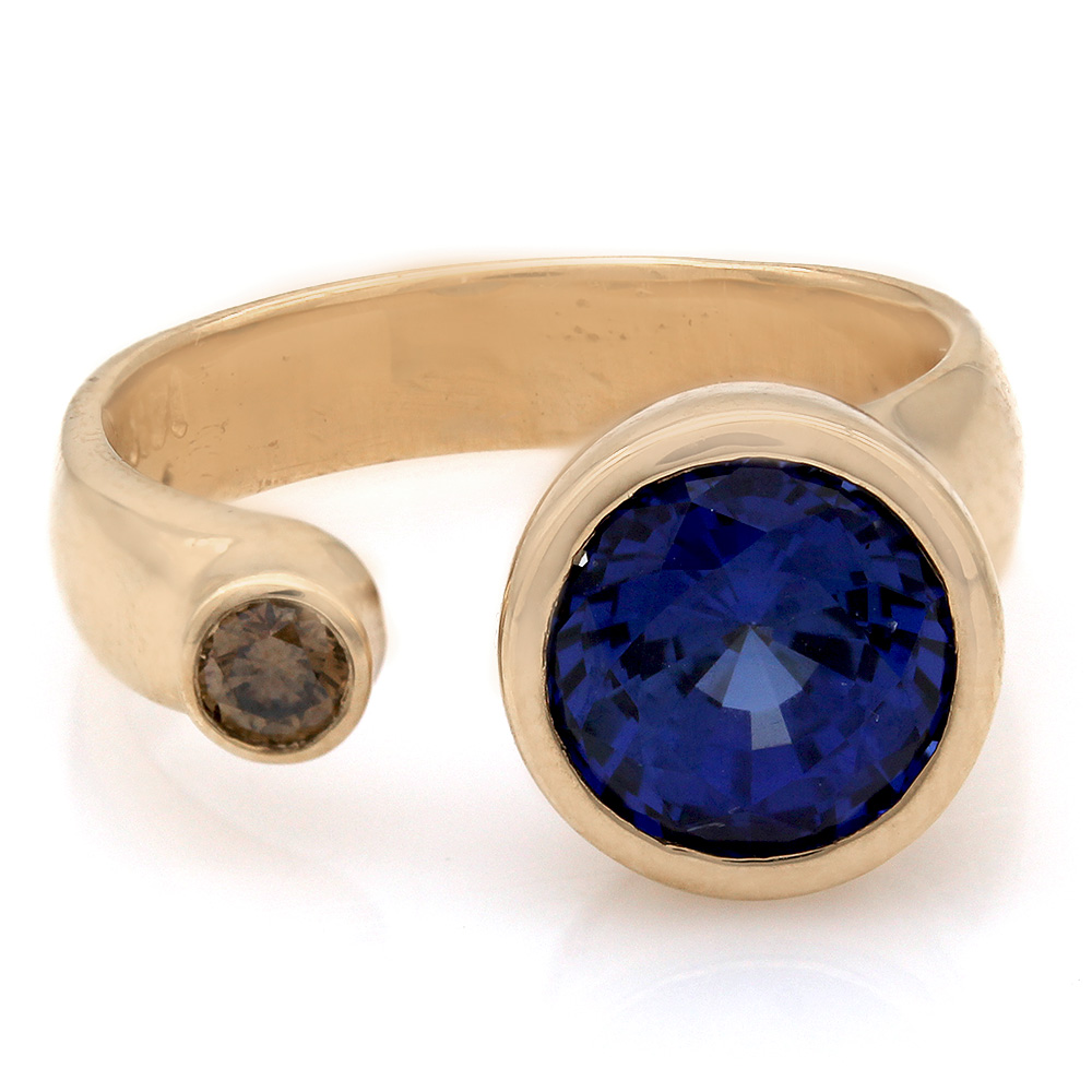 Bezel Set Diamond and Sapphire Fashion Ring in 18k Yellow Gold