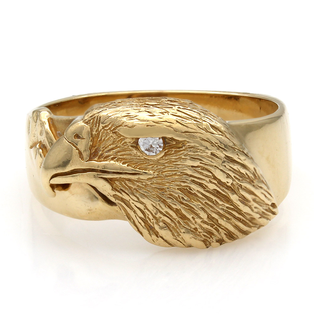 Gentlemans Eagle Ring with Diamond Eye