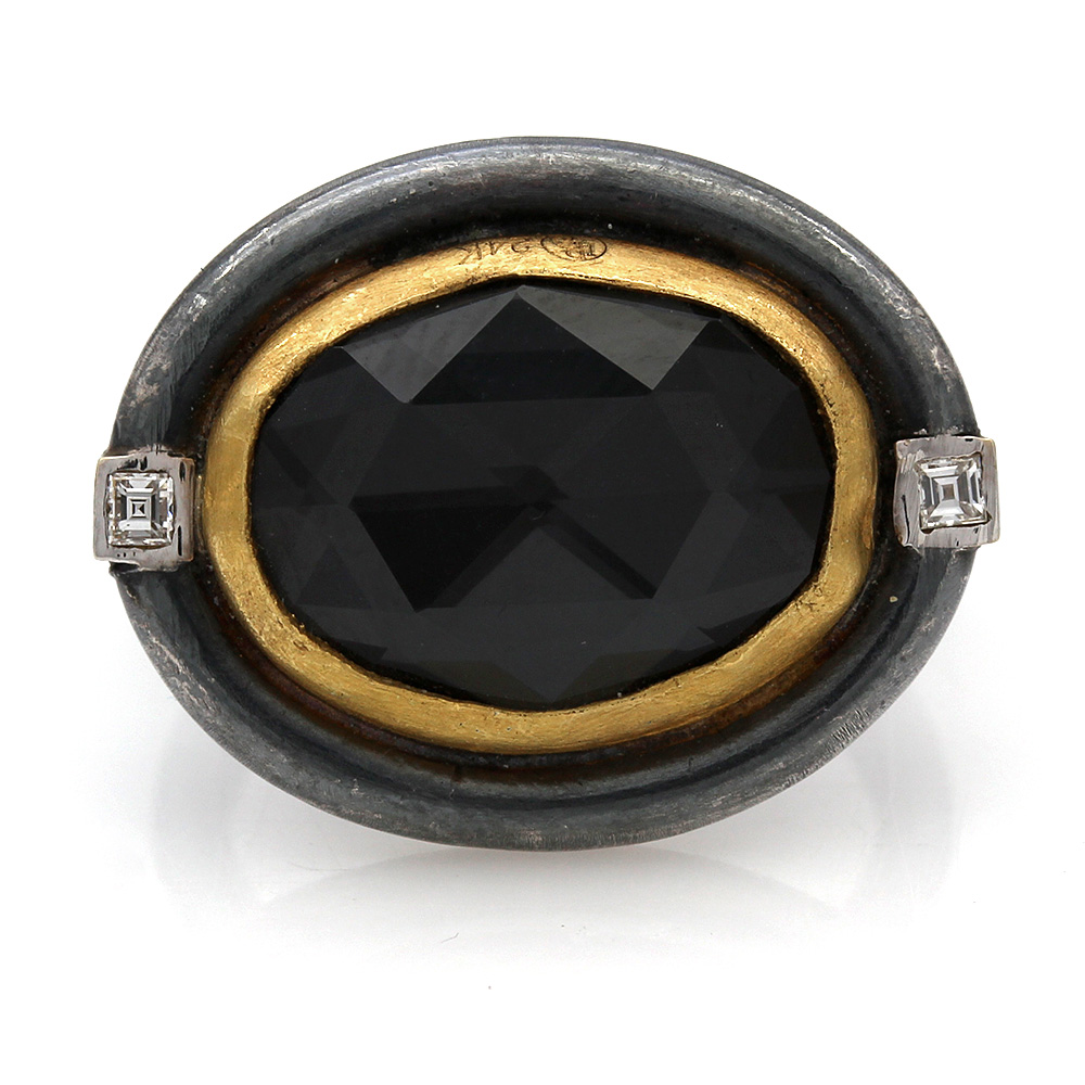 Lika Behar Oval Hematite Ring in Oxidized Silver and 18k Yellow Gold