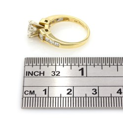Channel Set Princess Ring with Round Center