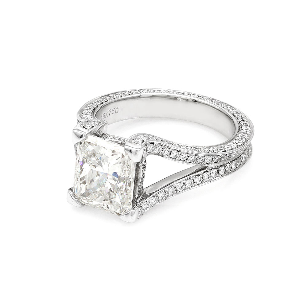 Pave Diamond Engagement Ring Mounting in Gold